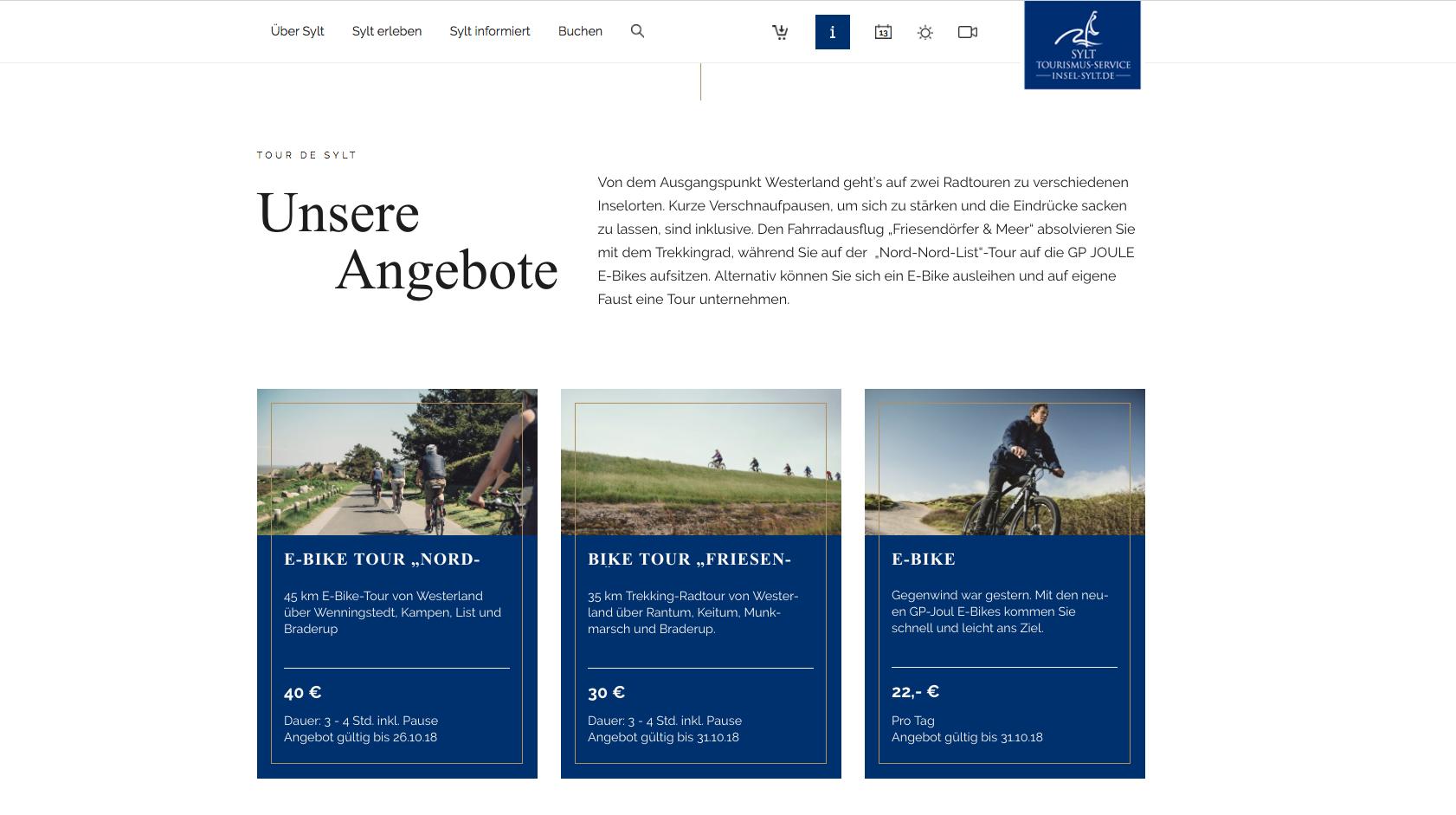Ausgespielte kontextsensitive Angebote auf insel-sylt.de
